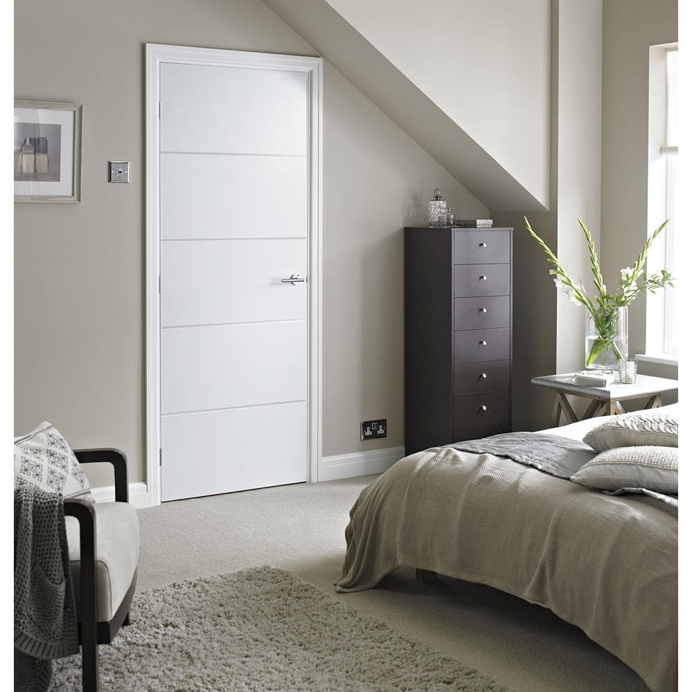 White internal moulded horizontal 4 line FD30 fire oak door