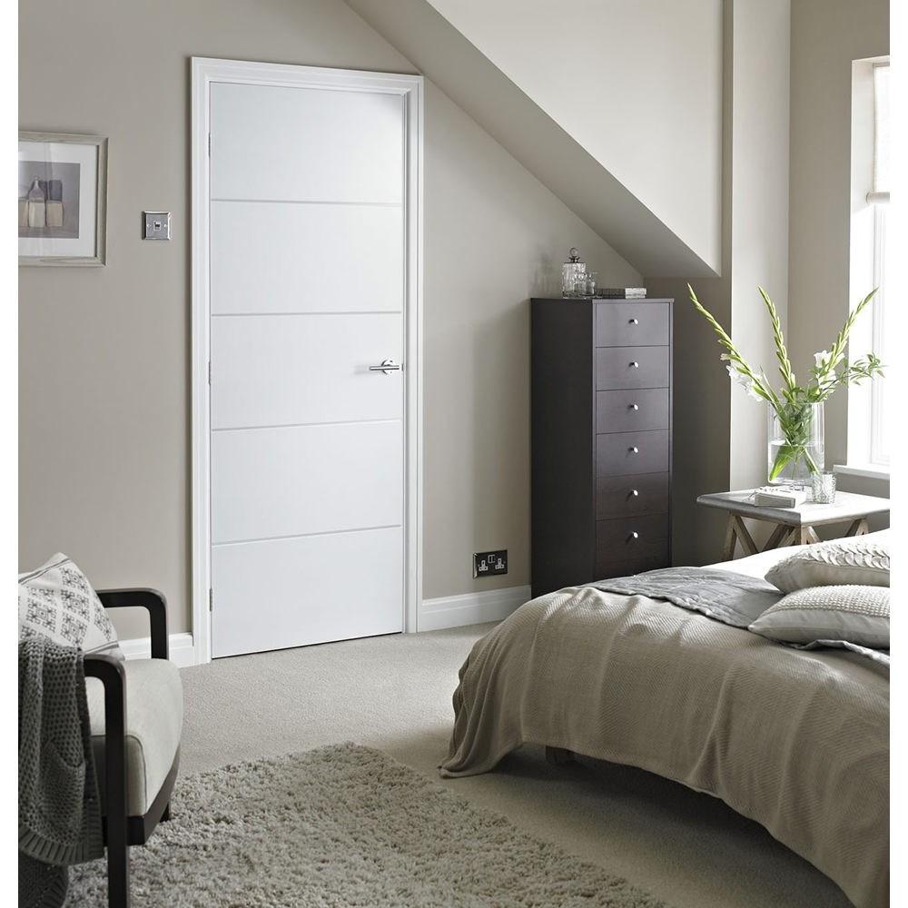 White internal moulded horizontal 4 line FD30 fire oak door