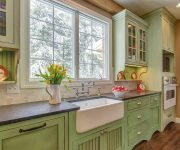 Cabinets, countertop and sink in a country style
