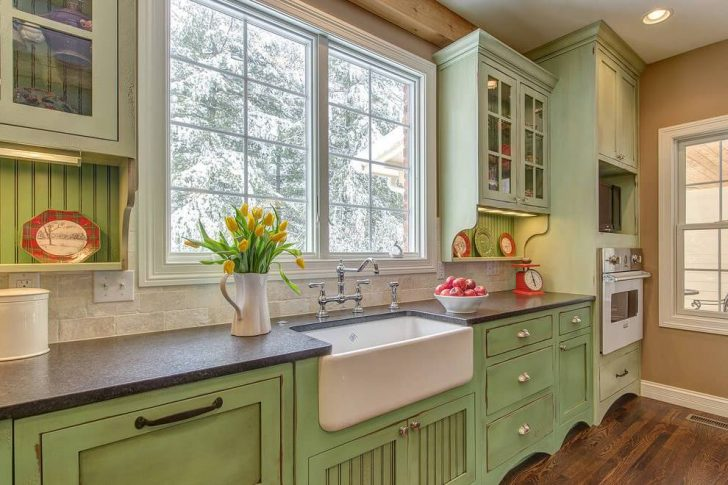 Cabinets countertop and sink in a country style 728x485 - Country-Style Kitchens
