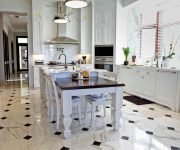 Ceramic tile floor in the kitchen 180x150 - Country-Style Kitchens