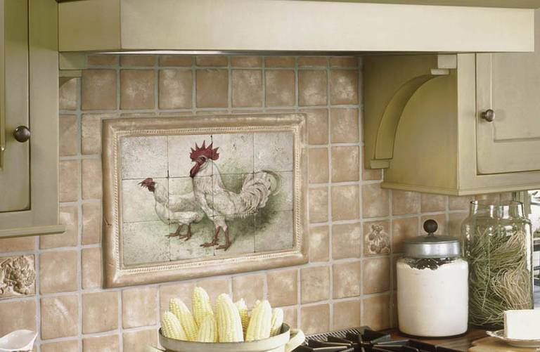 Ceramic tiles and decorated with painting in the kitchen country style