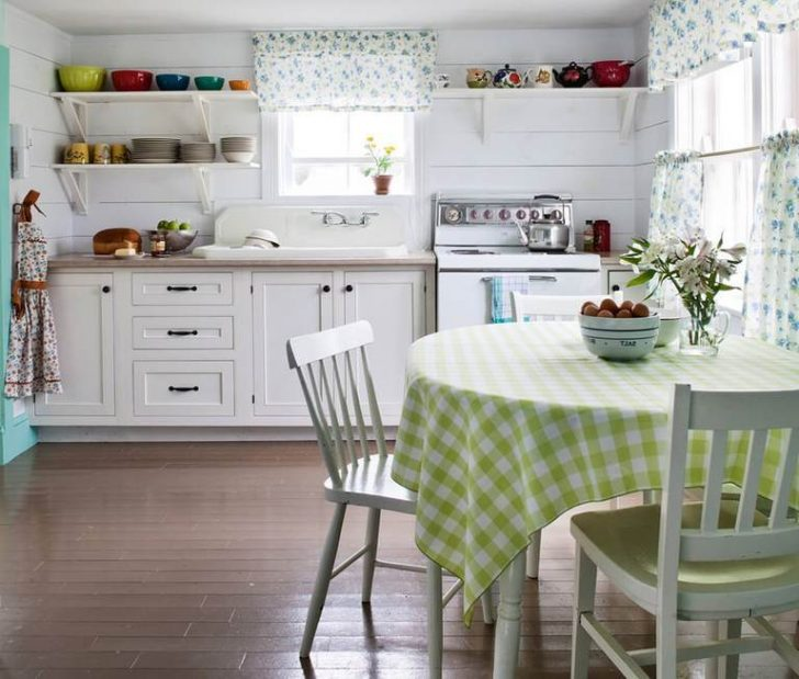 Curtains and tablecloth in the kitchen country style Material cotton linen or hemp 1 728x619 - Country-Style Kitchens