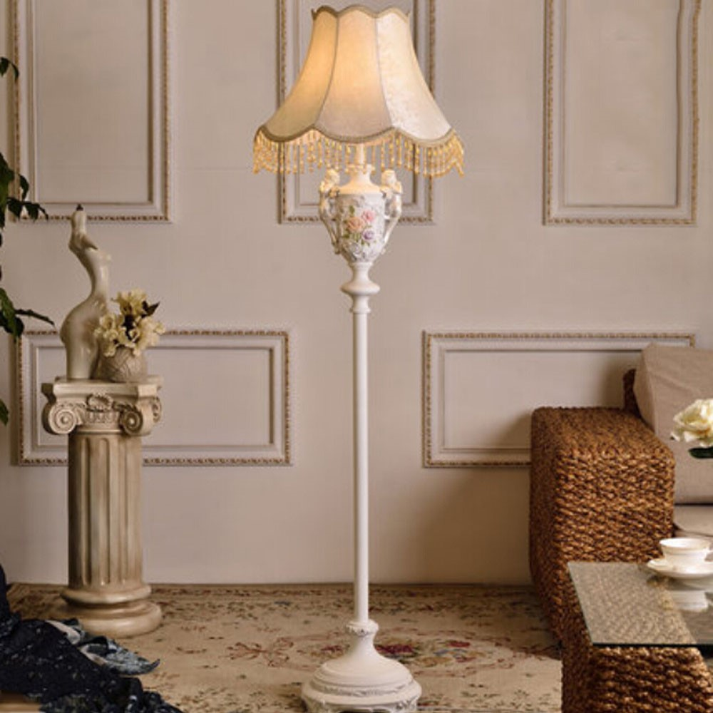 Floor lamps with fabric lampshades country style