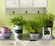 Flowers in metal pots - kitchen country style