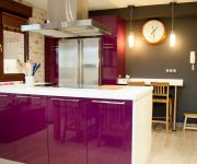 High tech kitchen design eggplant color