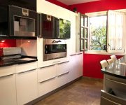 High tech kitchen design idea – Red, black and white color