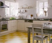 Linoleum floor in the kitchen of country style