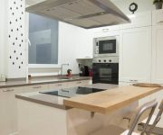 Modern Kitchen Hi-Tech Style Design – Kitchen island combined with a countertop is a practical solution