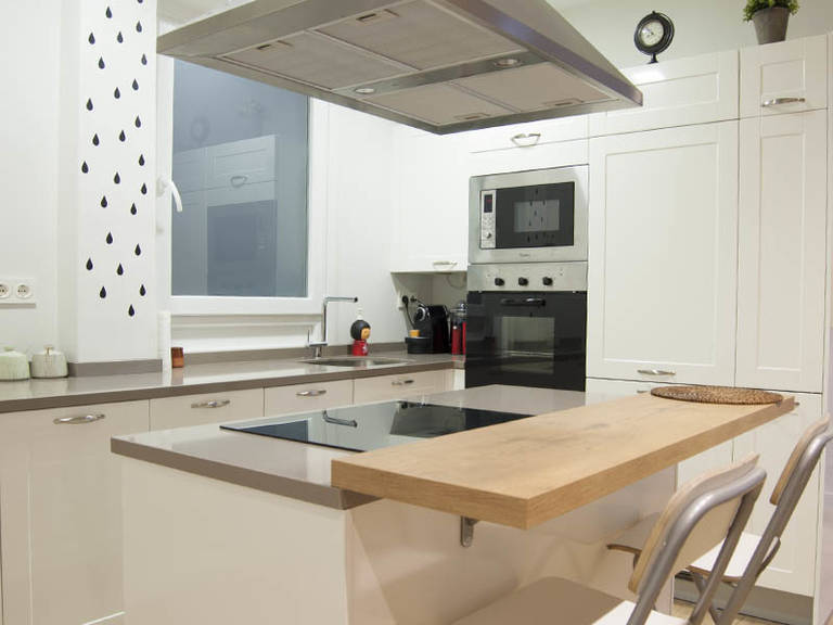 Modern Kitchen Hi-Tech Style Design - Kitchen island combined with a countertop is a practical solution