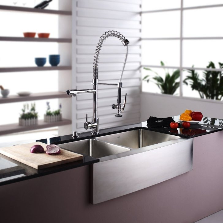 Modern faucet in the kitchen in high tech style 728x728 - High-Tech Kitchen
