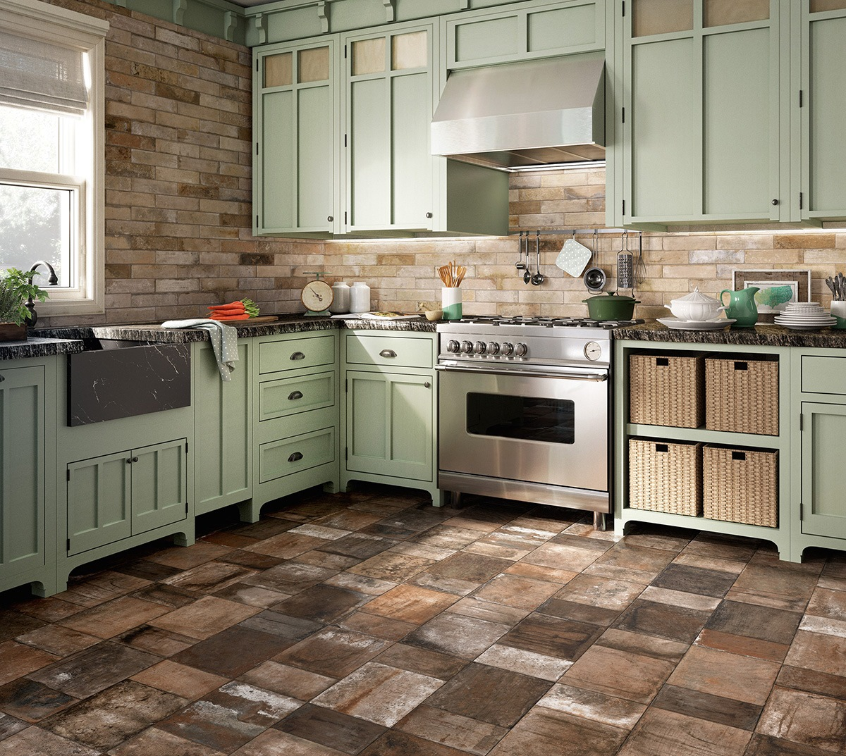 Porcelain stoneware floors in kitchen country style