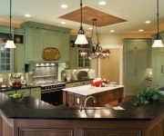 Stretch ceiling in the country style kitchen