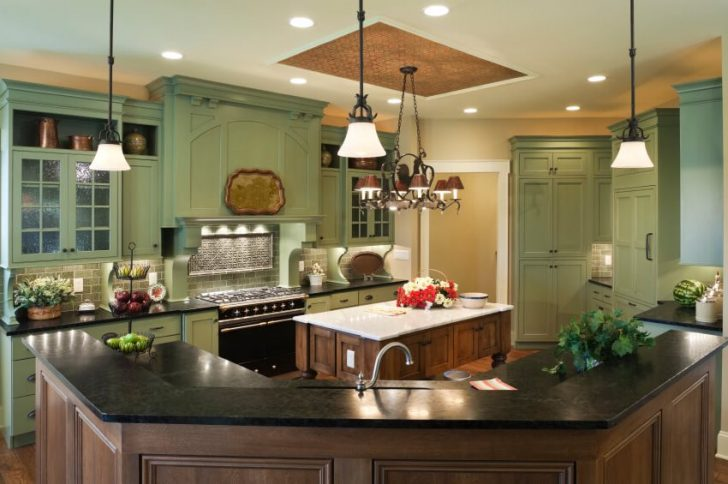 Stretch ceiling in the country style kitchen 728x484 - Country-Style Kitchens
