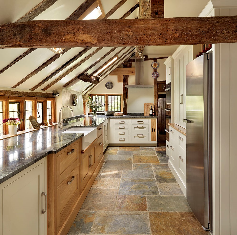 The stone floor in the kitchen in country style