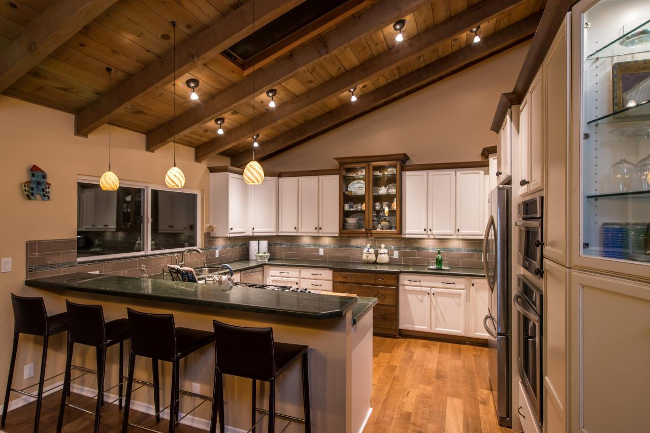 The wooden ceiling in the country style kitchen