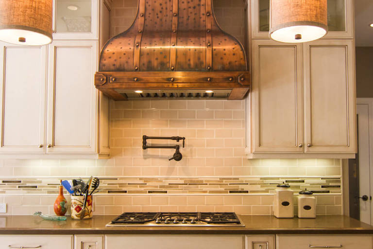 Vintage Cooker hood in country style kitchen