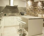 White bar stools and white cabinets Kitchen High tech Style 180x150 - High-Tech Kitchen