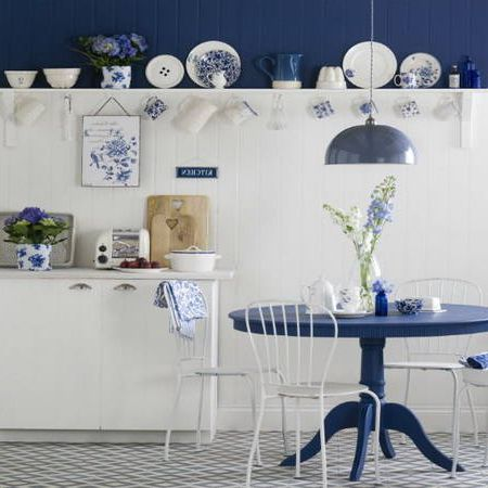Blue and white kitchen in Provence style
