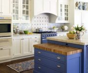 Blue tones in the kitchen of Provence 180x150 - Provence Style Kitchens – 100 ideas for interior