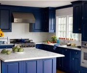 Dark blue Provence style kitchen