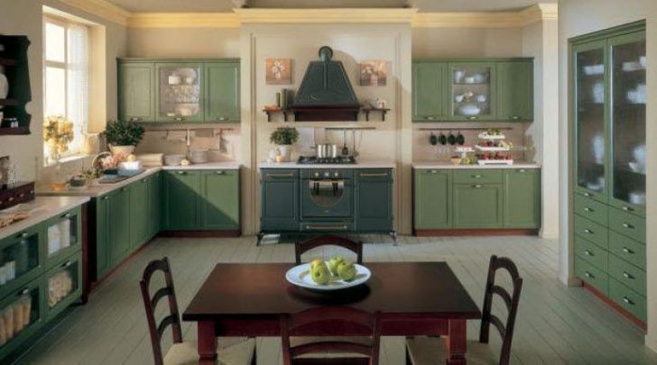 Olive kitchen in Provence style 728x405 - Provence Style Kitchens – 100 ideas for interior