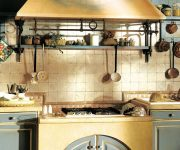 Open shelves in the kitchen in the style of Provence
