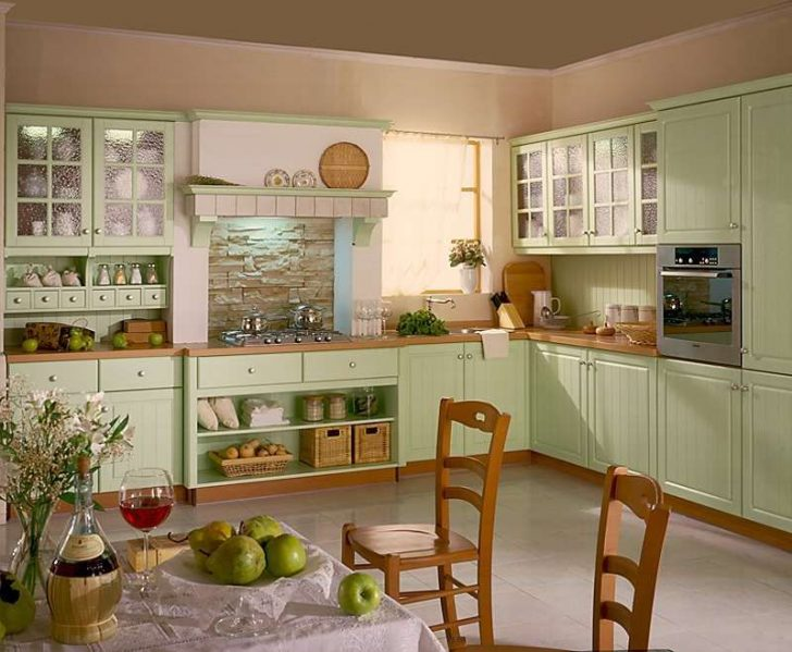 Provence Style Kitchens Pistachio color 3 728x599 - Provence Style Kitchens – 100 ideas for interior