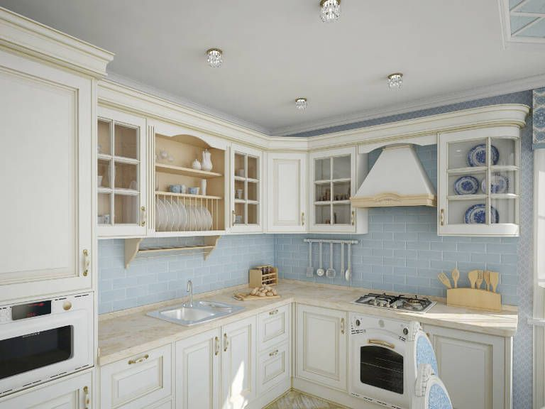 Provence Style Kitchens – White and Light Blue color