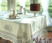 White tablecloth Provence Kitchen 180x150 - Provence Style Kitchens – 100 ideas for interior